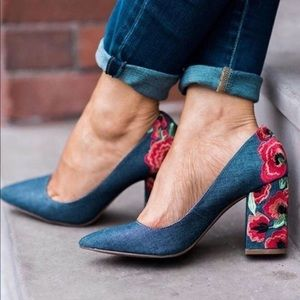 {Jessica Simpson} Lannah Floral Embroidered Heels